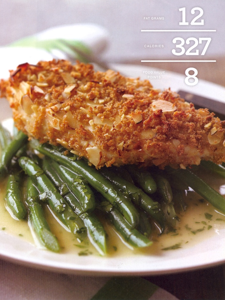 Chicken Amandine with Green Beans and Lemon Butter PER SERVING- 327 cal 12g fat 80mg cholesterol 188mg sodium 22g carbohydrate 6g fiber 33g protein