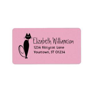 Mod Black Kitty Address Label