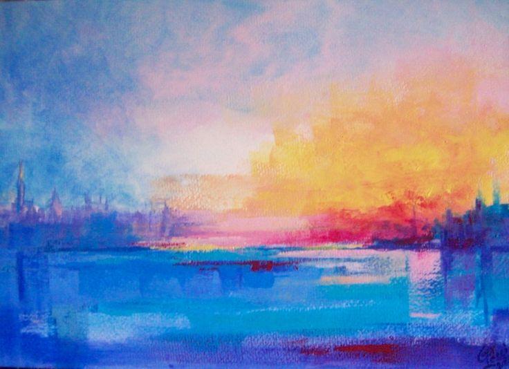 """""""Aurora, esplosione di sole"""". 2010. Acrilico su carta su tavola, cm 24 x 34."""