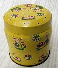Vintage English biscuit tin, Easter images, bunnies and lambs from The Old Grey Mare