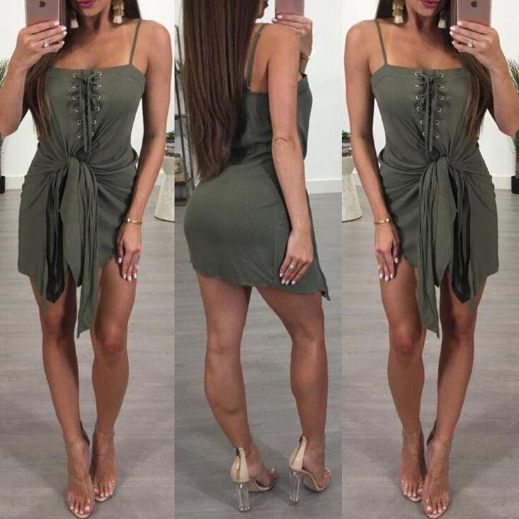 Summer Lace-up Twisted Mini Slip Dress