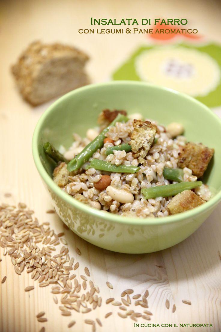 Insalata di farro con legumi e pane aromatico #food #laprovadelfarro