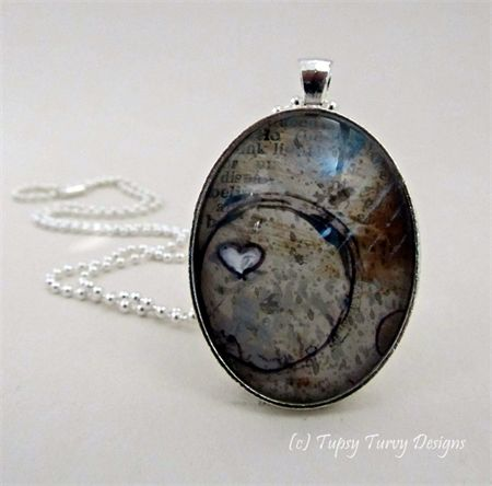 Mixed media art pendant in chocolate brown and light blue hues with heart www.madeit.com.au/TupsyTurvy