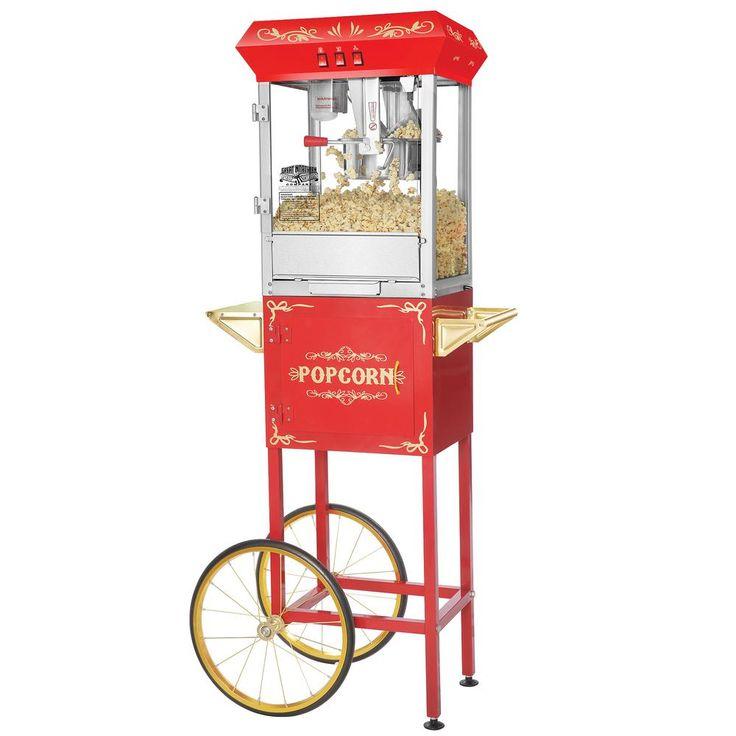 Popcorn Red Foundation 8 oz. Popcorn Popper Machine with Cart