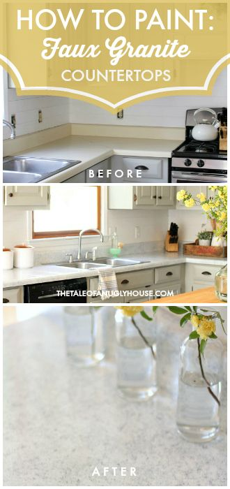 "Stunning ""before & after"" DIY kitchen remodel for under $500!!! Painted countertops & cabinets help to create a high-end Stunning ""before & after"" DIY transformation. Get the Farmhouse look on a small budget! The existing laminate was transformed into a beautiful marble look using Giani's White Diamond Countertop Kit."
