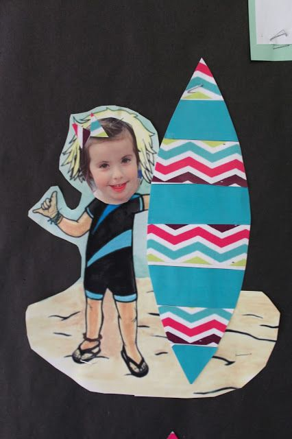 Making patterned surfboards using AB or AABB patterns. Ocean and Summer Theme in PreK. Skills: Patterns, Stripes and Solids, following directions, and fine motor control.