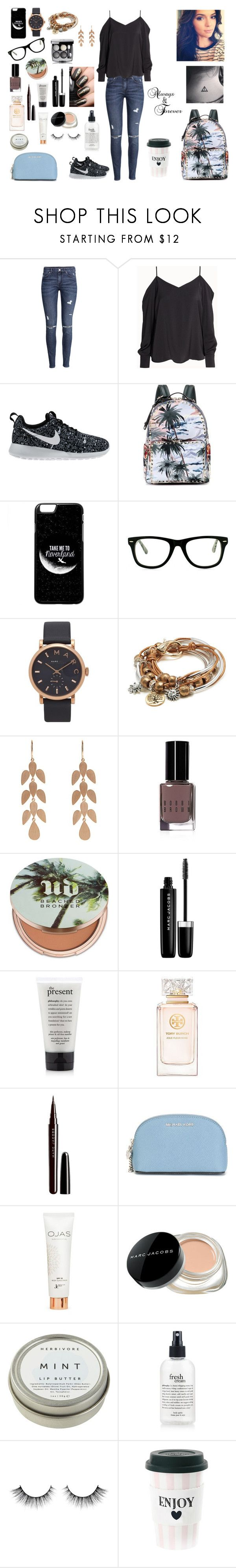 """""""Always & Forever"""" by izzapinkvs ❤ liked on Polyvore featuring H&M, NIKE, Valentino, Muse, Marc Jacobs, Lizzy James, Irene Neuwirth, Bobbi Brown Cosmetics, Urban Decay and Tory Burch"""
