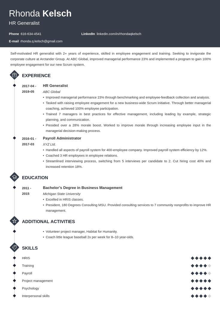 hr generalist resume example template diamond  resume