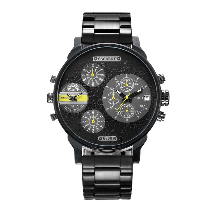 Aliexpress.com : Buy Cagarny Watch Men Fashion Quartz Men's Watches Black Stainless Steel Watchband 2 Time Zones Military Clock Male Reloj Hombre New from Reliable fashion mobile watch suppliers on Bin Professional Wristwatches Store