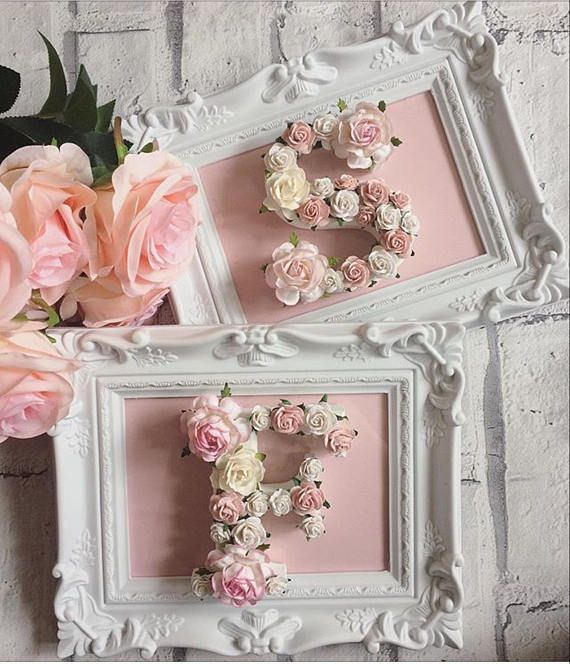 Custom made framed floral letters // babyshower gift // wedding gift