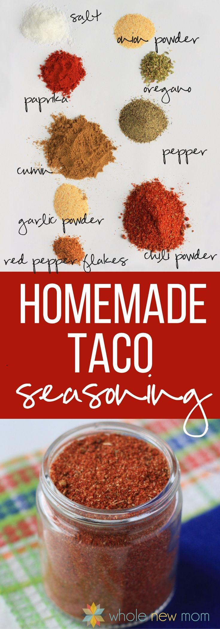 Homemade Taco Seasoning! Ditch the overpriced teensy packets with all kinds of chemical nasties--whip this up instead. Great for sides and salads too!