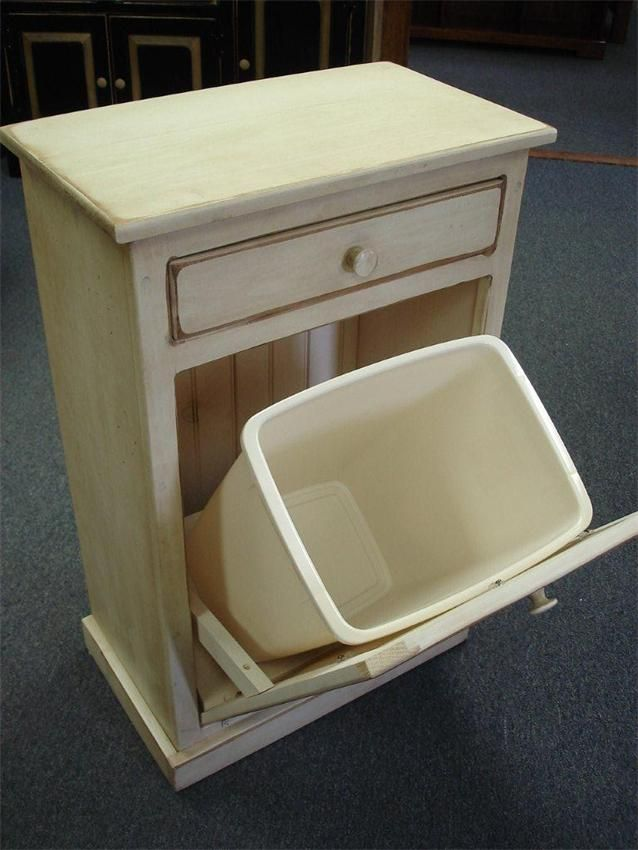 Amish Pine Tilt Out Trash Bin Cabinet With Drawer Night