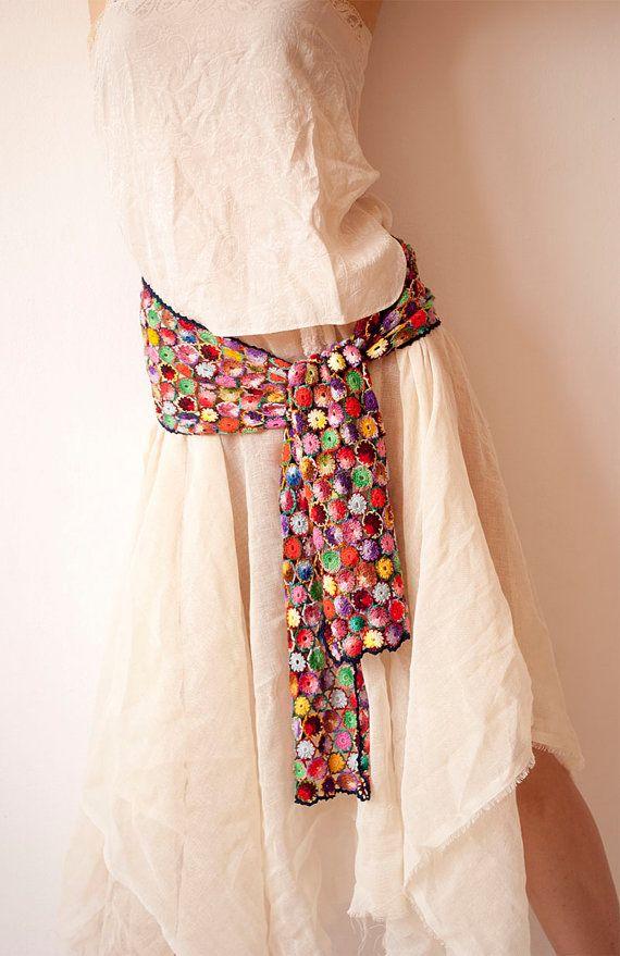 Bridal Crochet Scarf / Belt  Multicolor Womens by subrosa123, €200.00