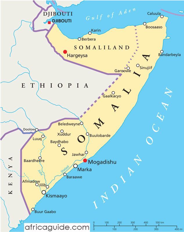 Somalia map with capital Mogadishu