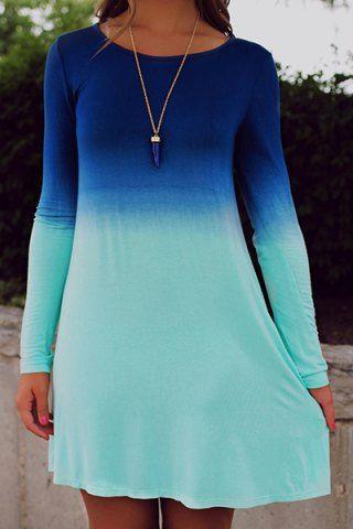 Stylish Scoop Collar Long Sleeve Ombre Color Women's DressLong Sleeve Dresses | RoseGal.com
