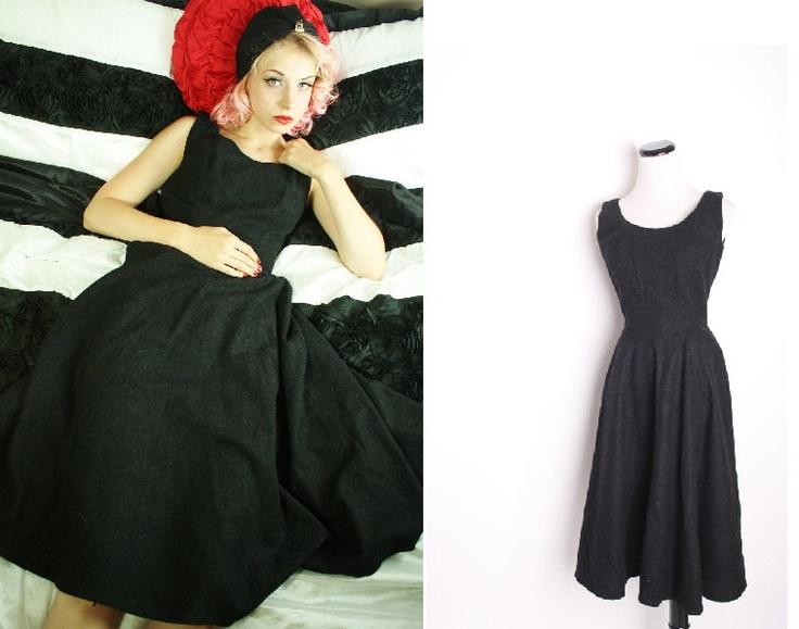 1940s Vintage Wool Winter Cocktail Dress / Dress / Dresses / Vintage Dress / Mad Men Fashion / 1434. $122.00, via Etsy.
