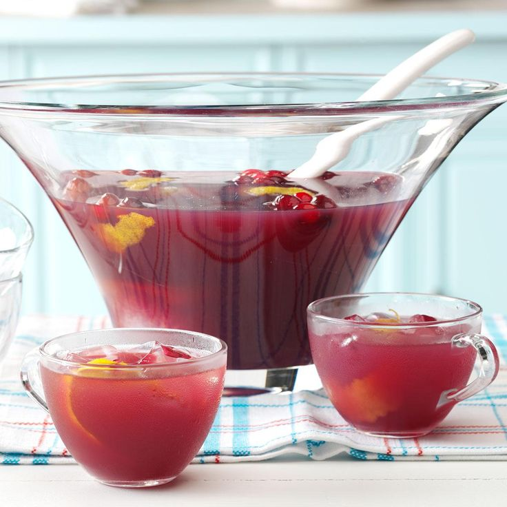 "Cranberry Fruit Punch Recipe -""I tried different combinations of juices until I came up with this pleasant punch that's not too sweet,"" relates Jean Ann Herritt of Canton, Ohio. ""It's perfect when you're serving a lot of holiday sweets."""