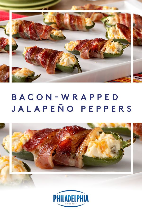 Bacon-Wrapped Jalapeño Peppers. Yes, they are every bit as delicious as they sound. Made with PHILADELPHIA Spicy Jalapeño Cream Cheese and KRAFT Shredded Sharp Cheddar Cheese stuffed into jalapeño pepper halves. #ItMustBeThePhilly