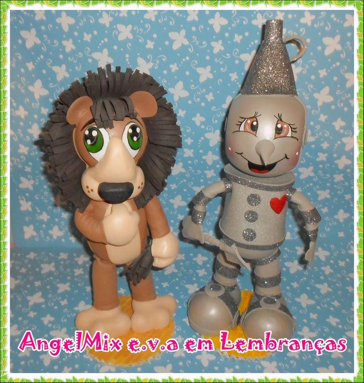 Leão covarde e Homem de lata Peças com 40cm  Tema Mágico de Oz