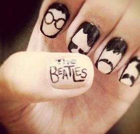 The BeatlesThe Beatles, Nails Art, Thebeatles, Nailart, Birthday Parties, Black Nails, Nails Polish, Beatles Nails, Nail Art