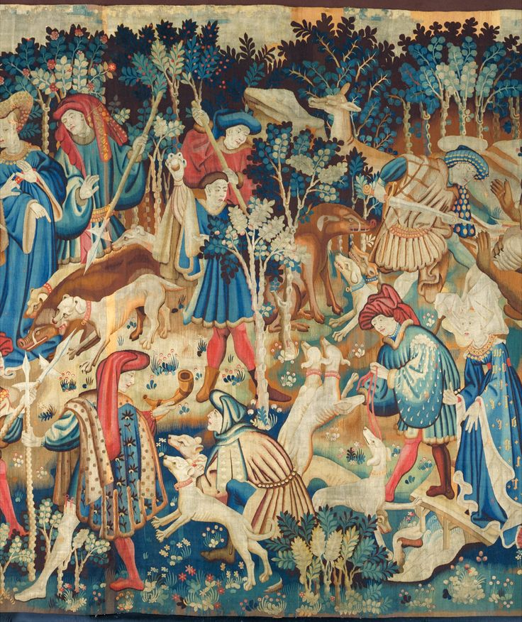 The Devonshire Hunting Tapestries: Boar and Bear Hunt, unknown maker, about 1425-1430. Museum no. T.204-1957