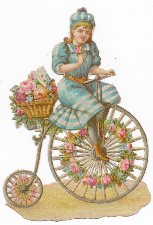 Very  Rare victorian DIE CUT 1890 s bike penny farthing bicycle BQ