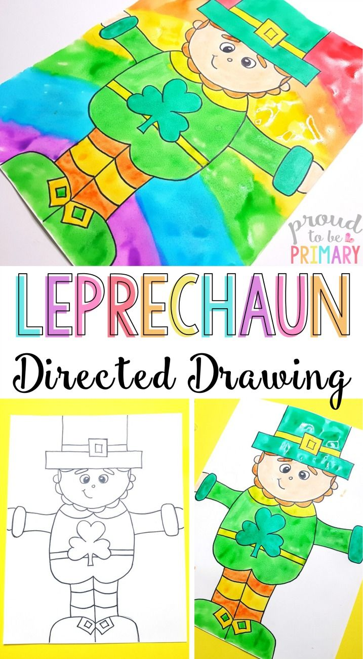 Do you love teaching directed drawings in your primary classroom? Decorate your class this March with this rainbow Leprechaun directed drawing for St. Patrick's Day. Follow the easy step by step printable art instructions that you can get for FREE!  via @proud2beprimary