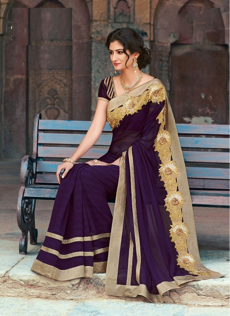 Festival and Party Wear Violet Chiffon Designer Saree