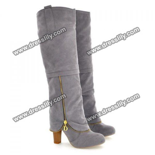 I love the zipper Elegant Suede and Zipper Design Women's Knee High Boots, GRAY, 39 in Boots | DressLily.com