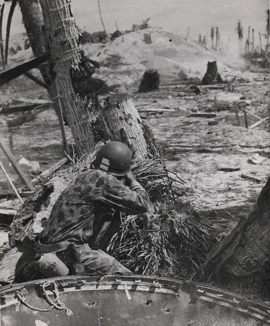 Marine Shoots on a Japanese Pill Box Tarawa November 1943 | Flickr - USMC Archives
