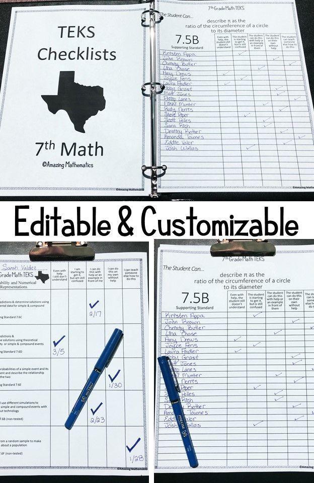 7th Math TEKS Checklist I Can 7th Grade Math