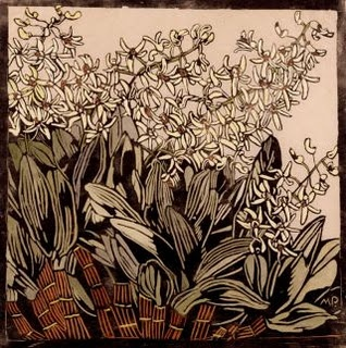 Australian Rock Lily, Margaret Preston. Hand-colored woodcut, c 1933. (Margaret Preston, 1875-1963, Australian artist)