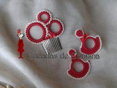 complementos niña | Peina de Ganchillo 3 aros irregulares y Pendientes de Niña con lazo.