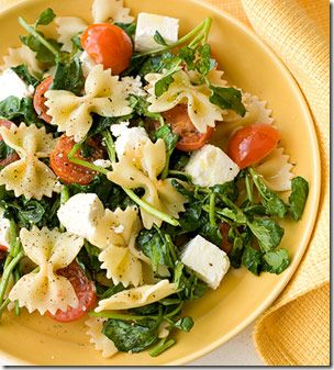 Spinach pasta salad, use spinach instead of watercress, and use Parmesan cheese shreds instead of the other cheese