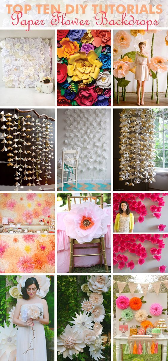 Roundup of paper flower backdrop ideas.