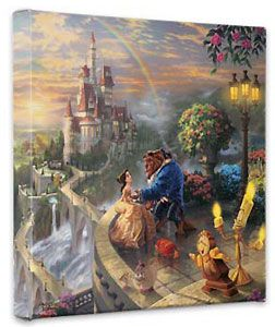 Beauty and the Beast - Beauty and the Beast Falling in Love - Gallery Wrapped - Thomas Kinkade - World-Wide-Art.com - $79.00 #Disney #Kinkade