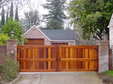 Drop Dead Gorgeous Wooden Driveway Gate With Pedestrian Access and wooden driveway gates farnham