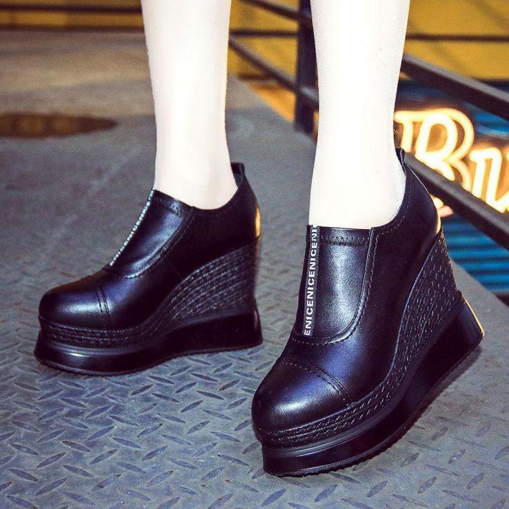 Hot Ladies Wedge High Heel Platform Slip On Loafers Womens Round Toe Black Shoes