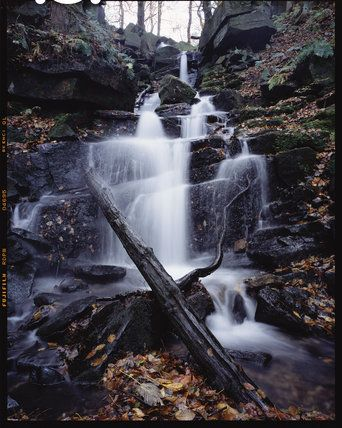 Waterfall at Hardcastle Crags, Hebden Bridge, West Yorkshire, England.