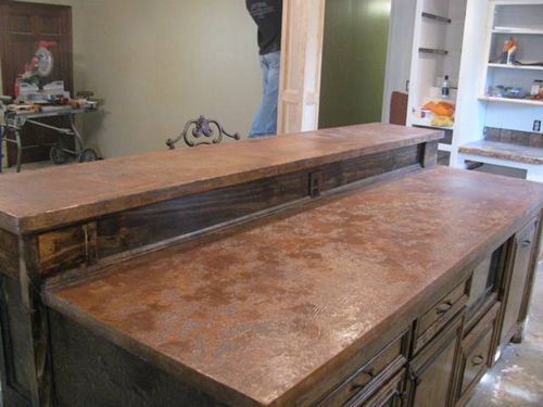 rustic kitchen countertop made with our dci coffee brown and cola