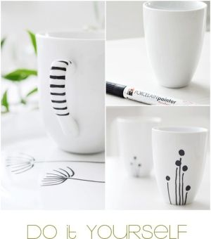 IKEA mugs + porcelain paint pen