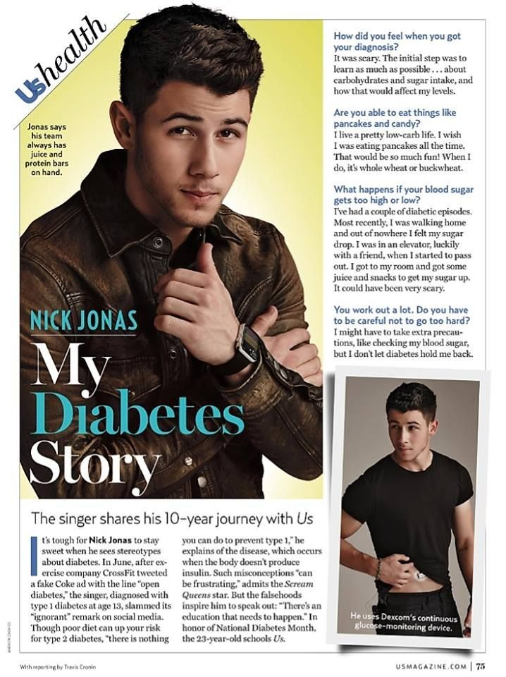 Nick Jonas is featured in the newest issue of Us Weekly speaking about his 10 year journey with Type 1 Diabetes and showcasing the continuous glucose monitoring technology that makes his management easier.