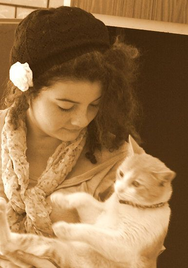 Girl and Cat in Sepia  by Melissa Park