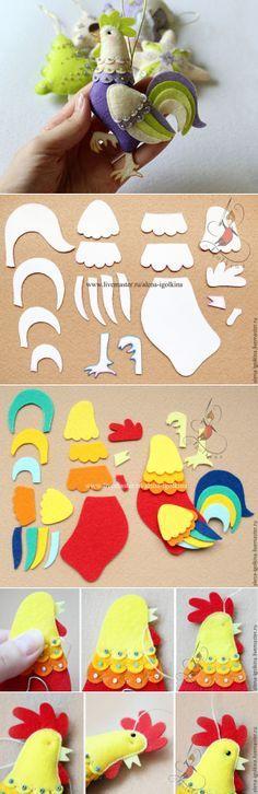 Шьем симпатичного петушка из фетра - Ярмарка Мастеров - ручная работа, handmade | Фетр | Постила