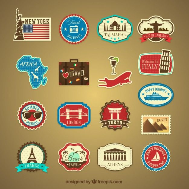 Etiquetas de viagem de férias Retro