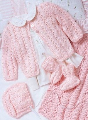 Perfectly Pink Knit Layette ePattern - (Leisure Arts Leaflet #3145) Lacy stripes highlight this precious ensemble for baby. The blanket is knit using worsted weight yarn and sizes 10 1/2 (6.50 mm) and 11 (8.00 mm) circular needles. The sacque, bonnet, and booties are knit using sport weight yarn and sizes 4 (3.50 mm), 5 (3.75 mm), and 6 (4.00 mm) straight needles. Number of Designs: 4 (sacque, bonnet, booties, and blanket) Size: 6 months