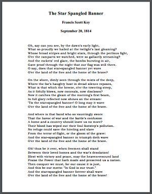The Star Spangled Banner - Written by Francis Scott Key - September 20, 1814
