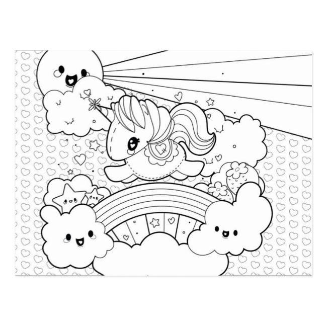 Cute Kawaii Sunny Unicorn Coloring Cover Page Postcard In 2020 Hello Kitty Coloring Cute Coloring Pages Unicorn Coloring Pages