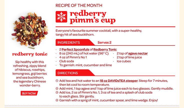 """David's Tea drink. August tea of the month """"Queen of Hearts"""""""