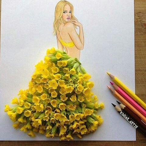 Girl use yellow flower art